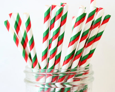 Christmas Stripe Paper Straw