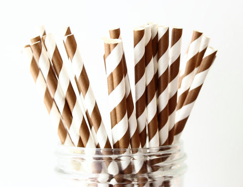 Brown Stripe Paper Straw