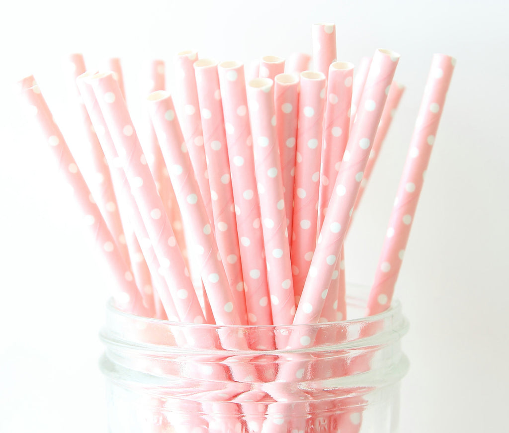 Blush Pink with White Polka Dot Paper Straw