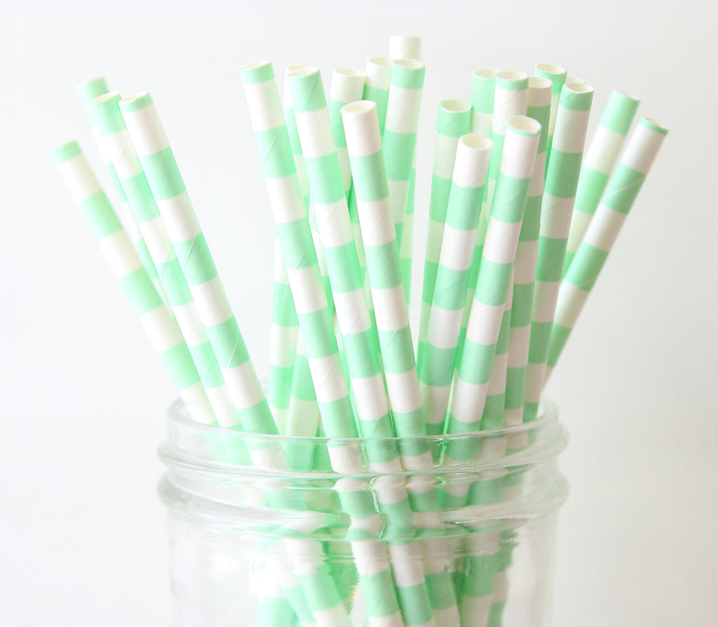 Mint Green Horizontal Stripe Paper Straw