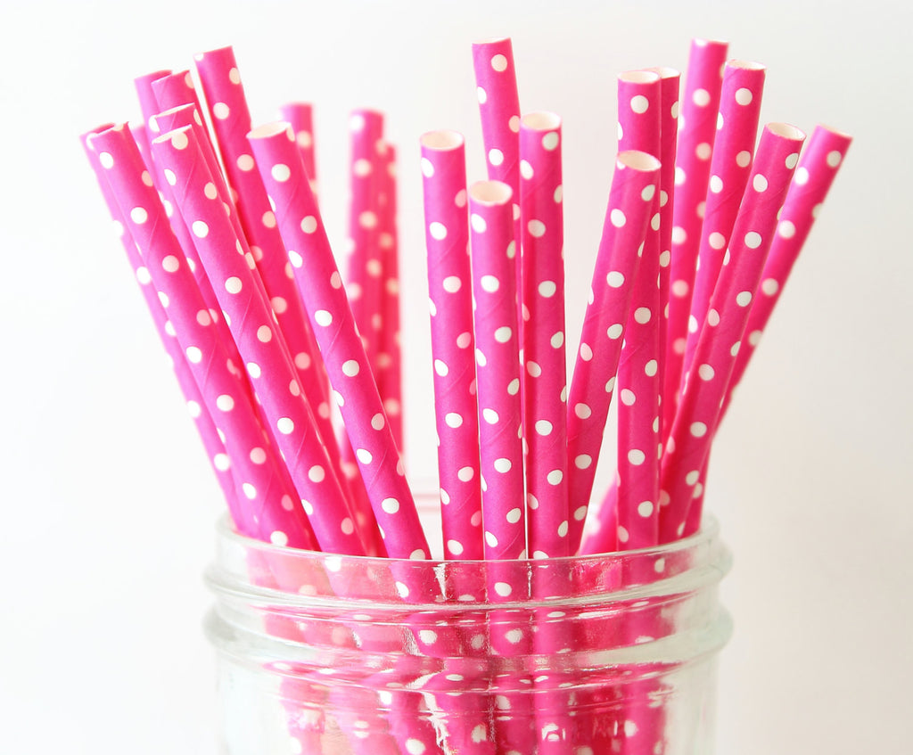 Hot Pink with White Polka Dot Paper Straw