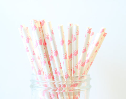 Pink Crown Paper Straw