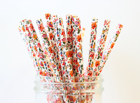 Bright Floral Paper Straw