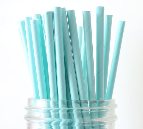 Blue Solid Paper Straw
