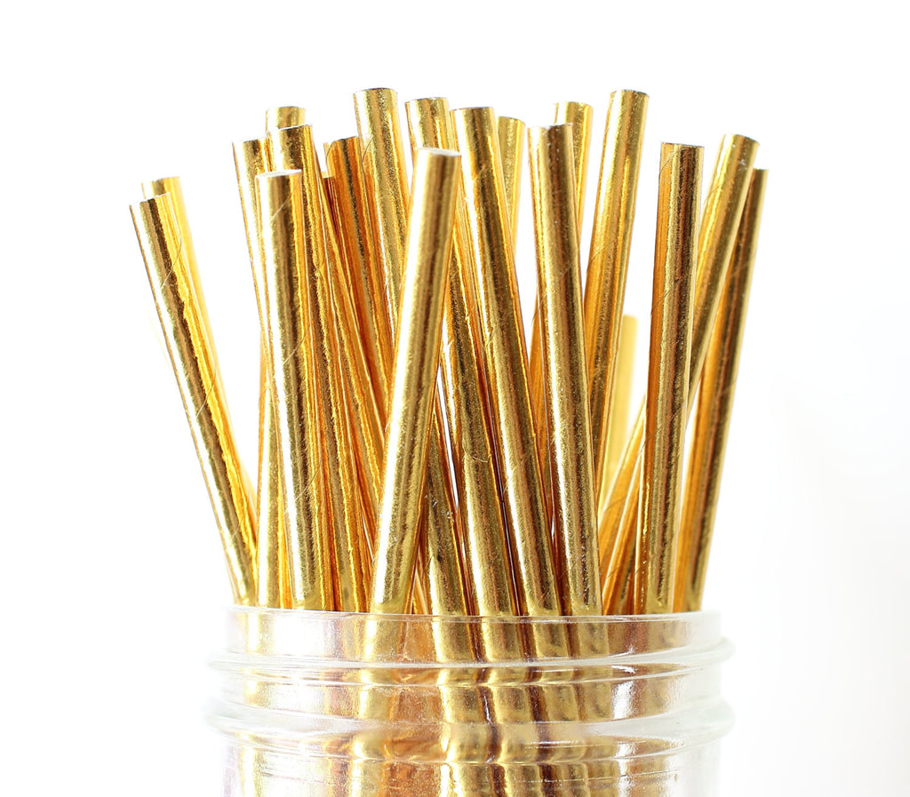 Metallic Gold Solid Paper Straw