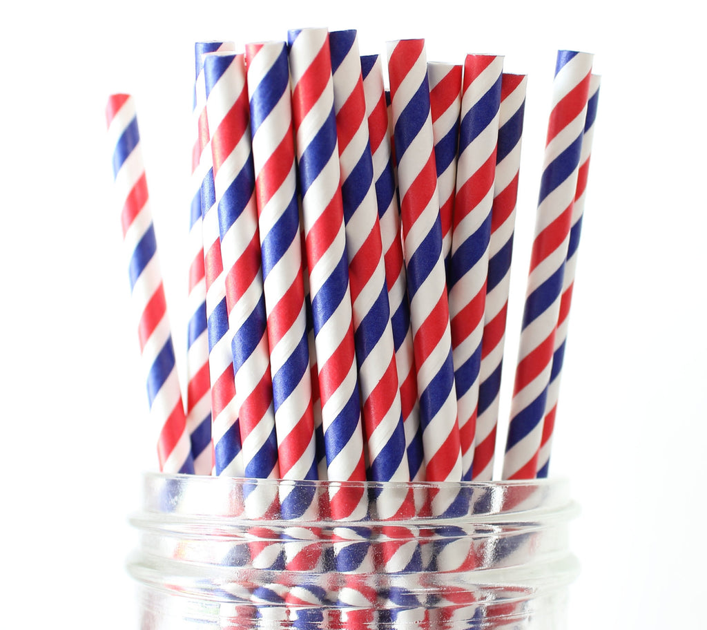 Patriotic Stripe Paper Straw