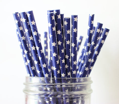 Blue with White Star Paper Straw