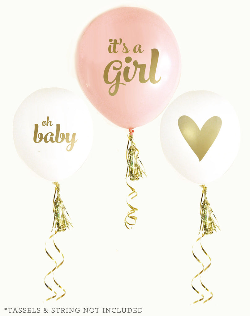 It's a Girl Gold & Pink Baby Shower Ballons