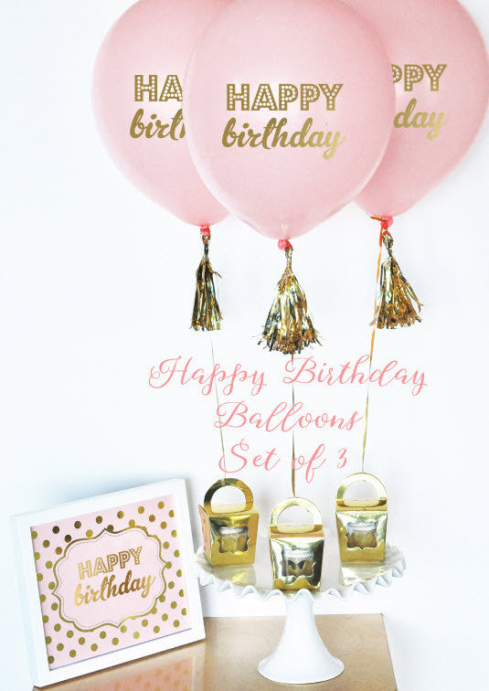 Pink & Gold Happy Birthday Balloons