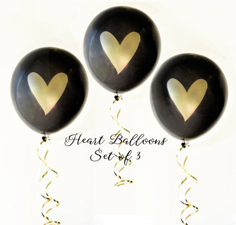 Black & Gold Heart Balloons