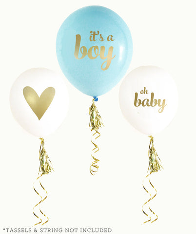 It's a Boy Gold & Blue Baby Shower Ballons