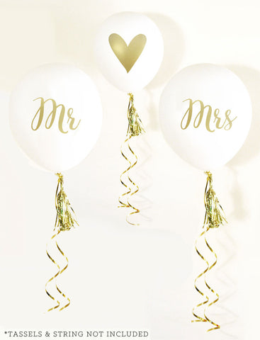Mr & Mrs White & Gold Ballons