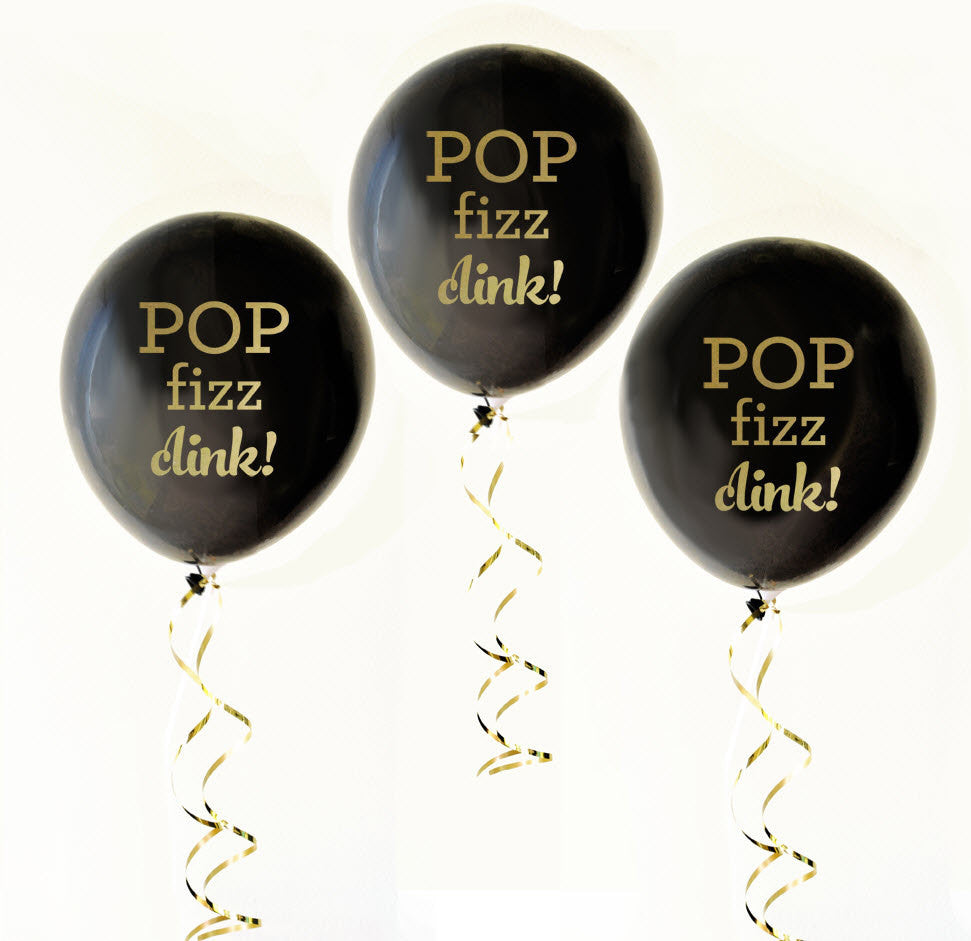 Pop Fizz Clink Black & Gold Balloons