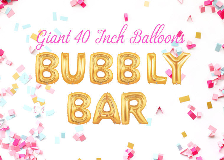 Bubbly Bar 40 Inch Gold Balloons