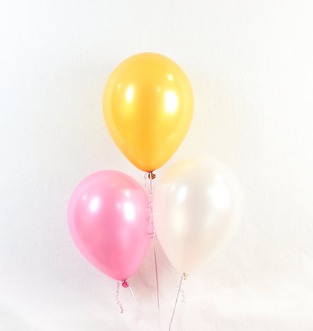 Pink Gold White Baby Shower 11 Inch Balloons