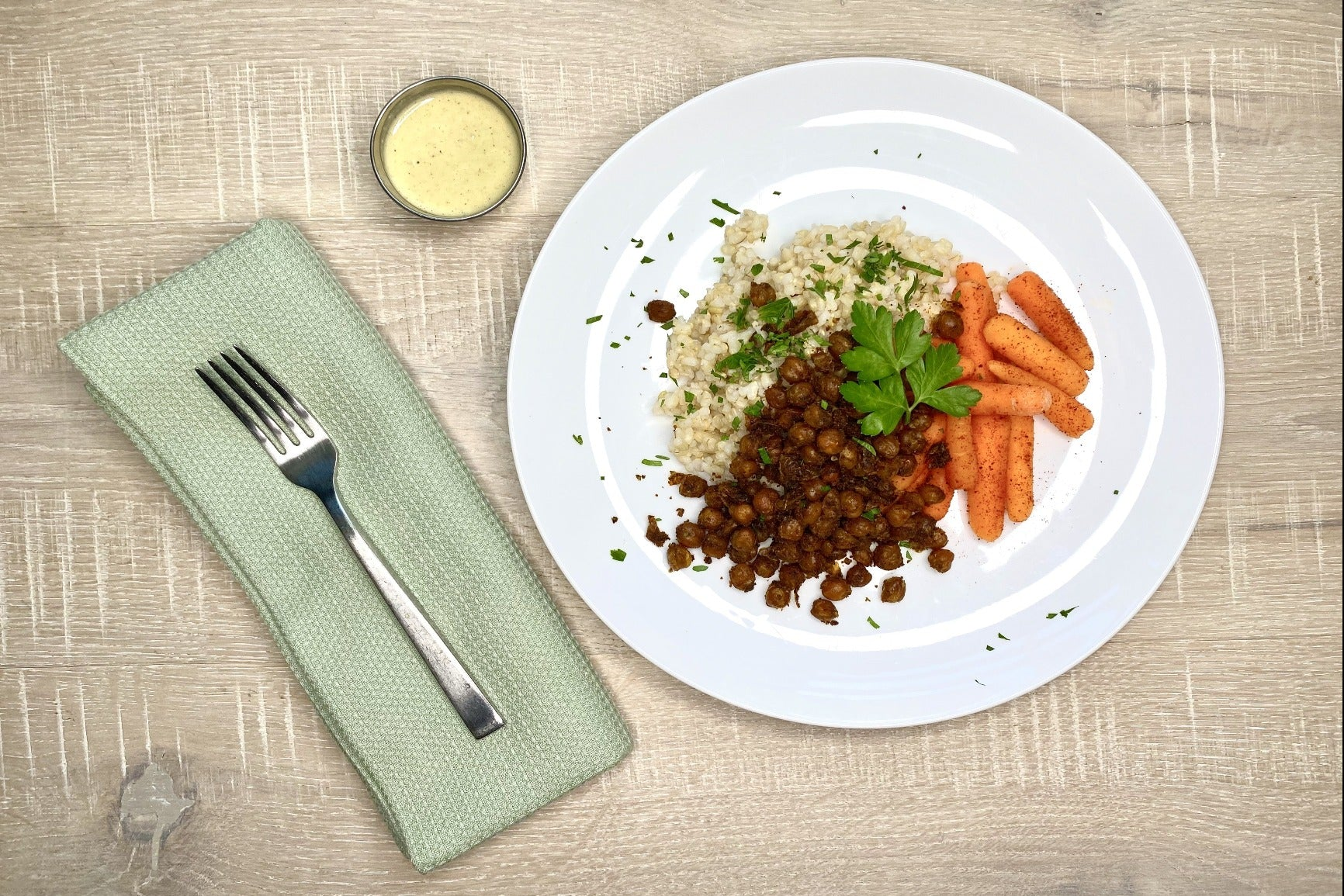 Blackened Crispy Chickpeas w/ Herbed Rice and Roasted Baby Carrots