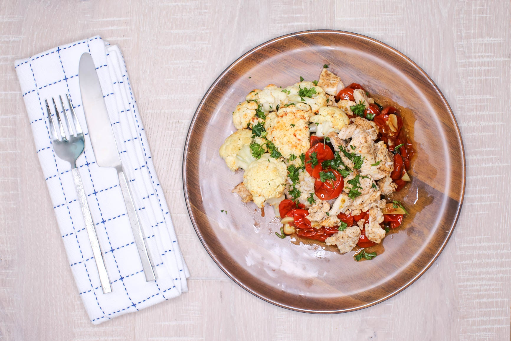 Slow Roasted Tomatoes & Herbed Cauliflower w/ Chicken