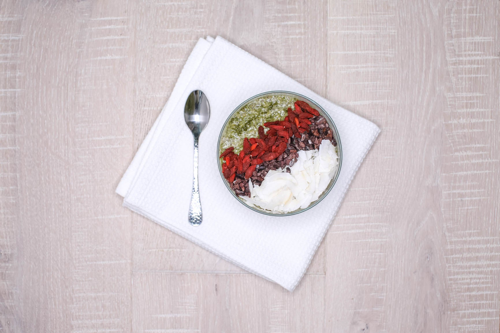Matcha Chia Pudding w/ Goji Berries