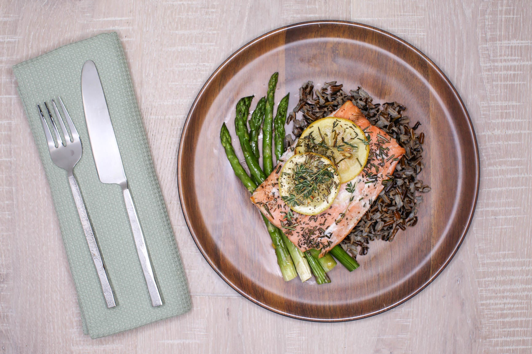 Lemon Herb Salmon w/ Wild Rice