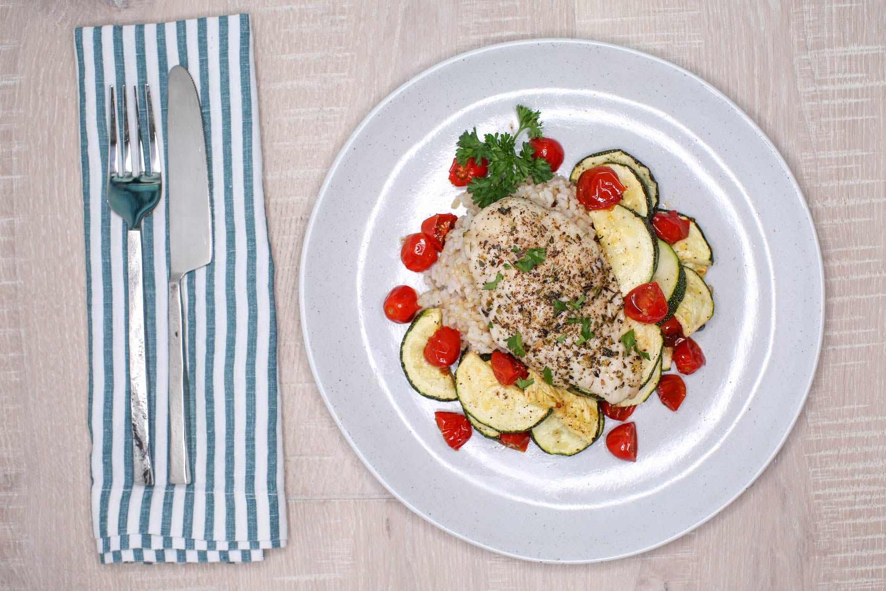 Herbed Chicken, Zucchini & Tomatoes w/ Brown Rice