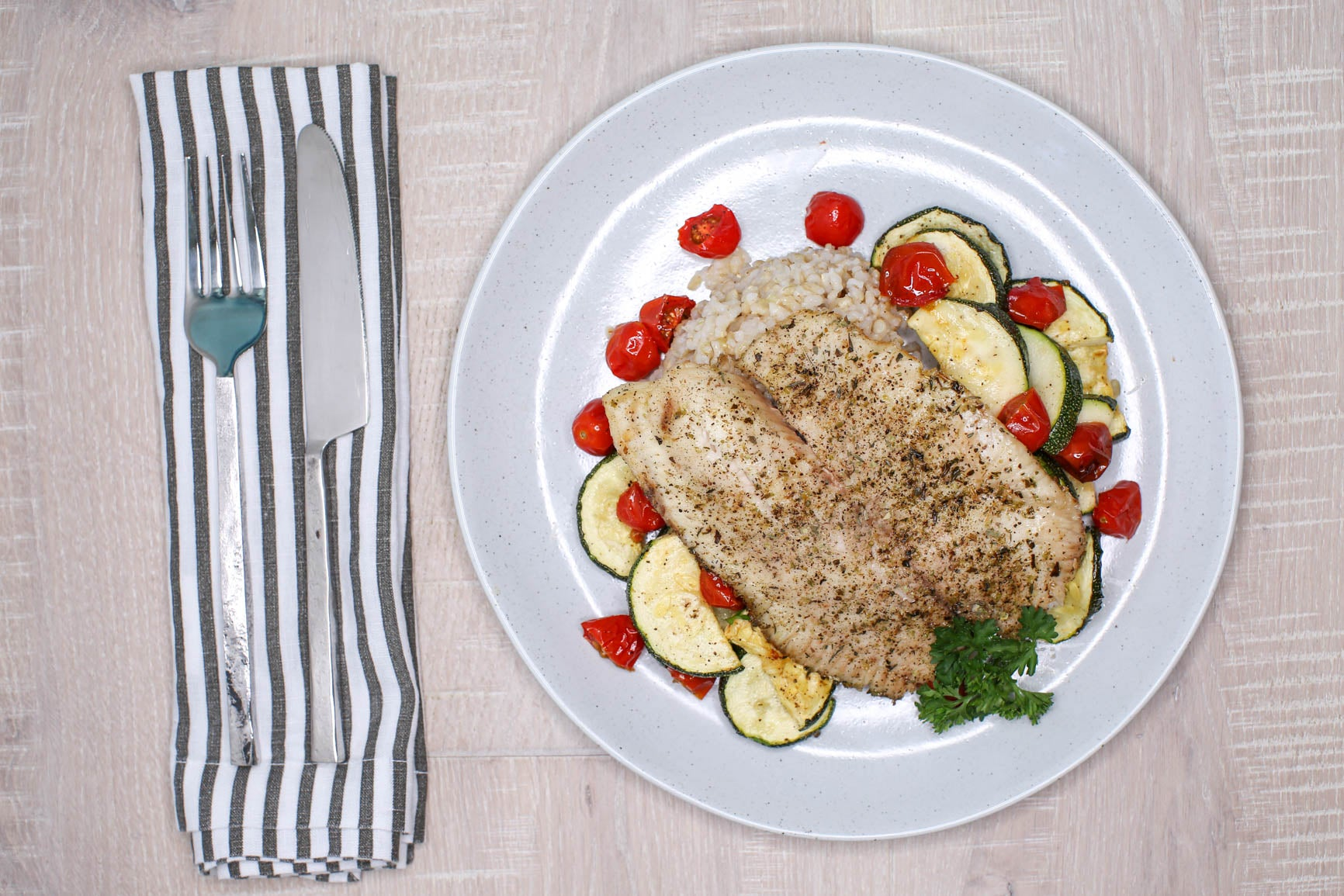 Herbed Tilapia, Zucchini & Tomatoes w/ Brown Rice