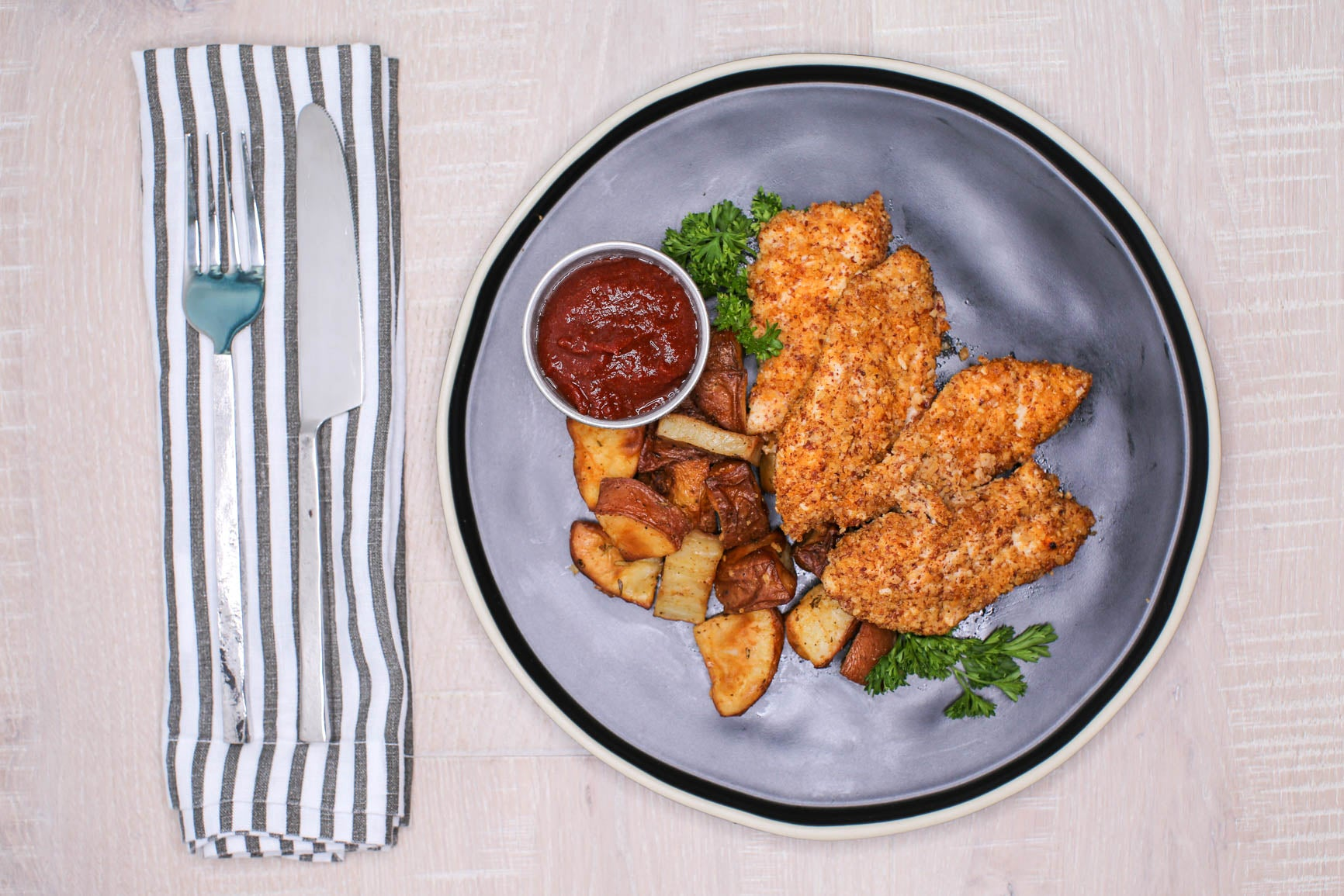 Almond Crusted Chicken Strips + Roasted Potatoes + BBQ Sauce