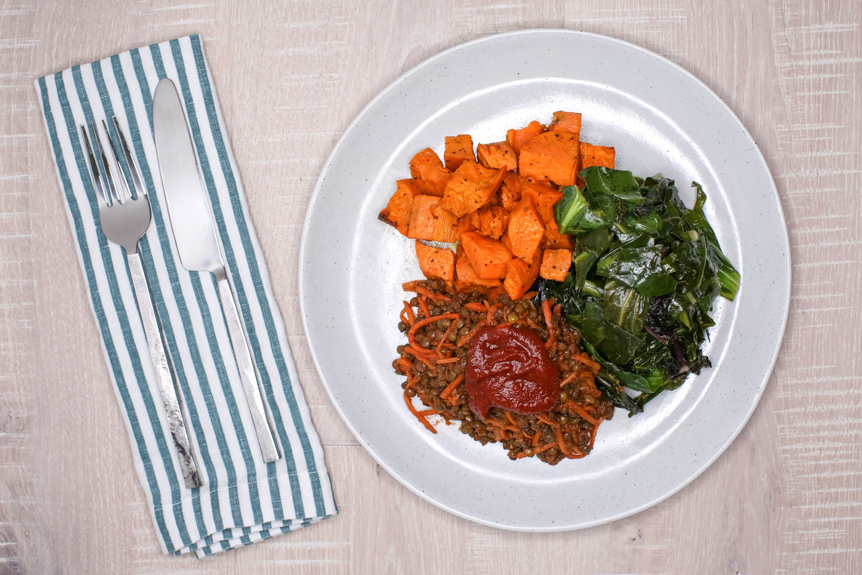 Vegan BBQ Lentils w/ Roasted Sweet Potatoes & Sauteed Greens