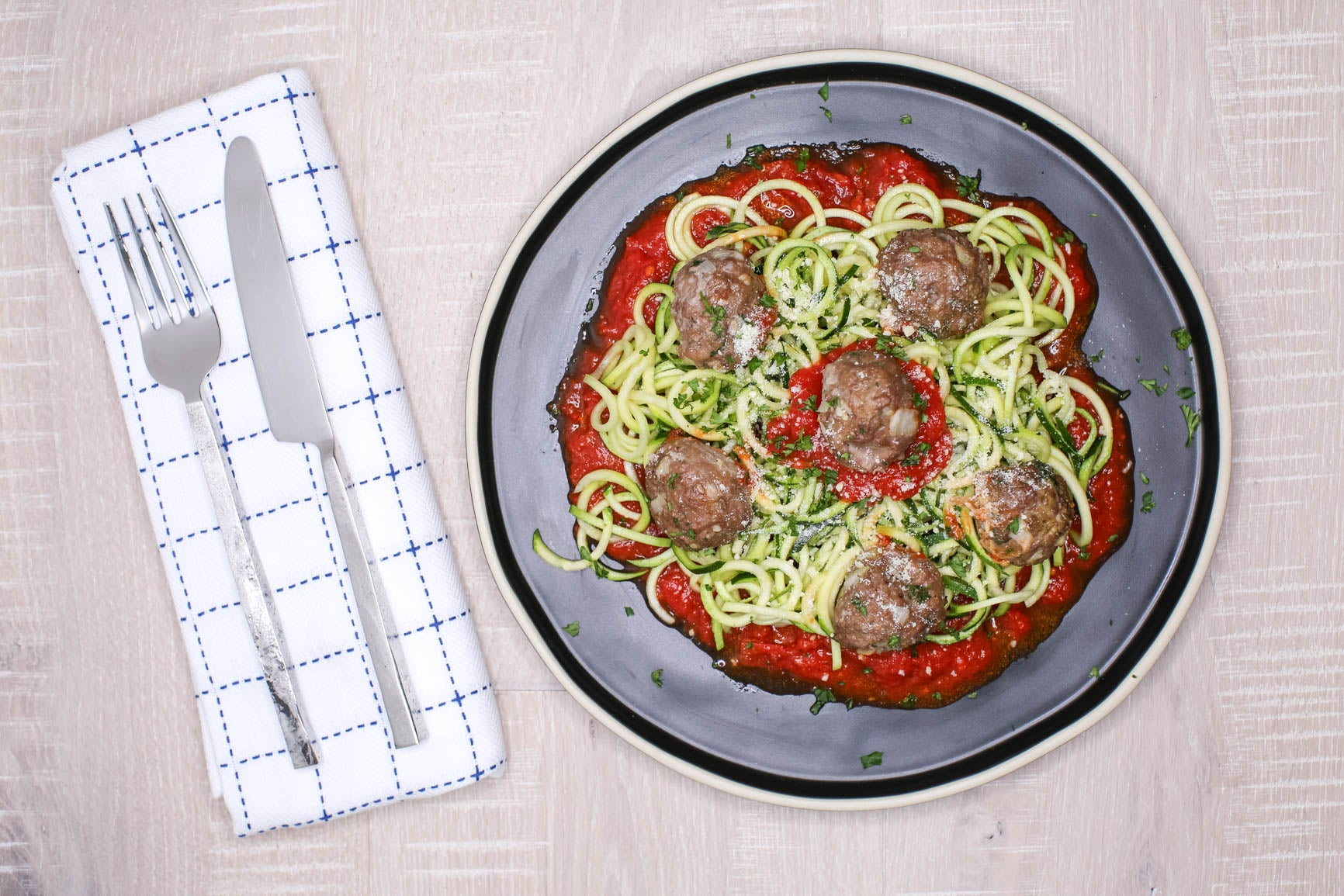 Low-carb Gluten-free Meatballs & Zucchini Noodles