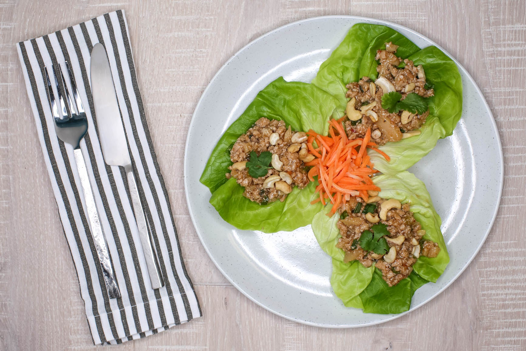 Asian Turkey Lettuce Wraps w/ Fermented Carrot Ginger Slaw