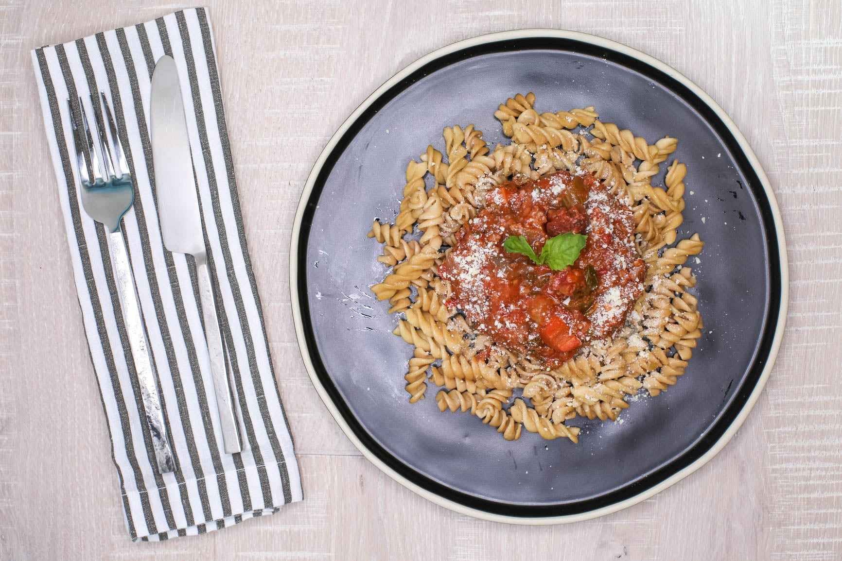 Slow-Cooked Beef Bolognese Sauce over Whole Wheat Pasta