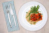 Chili-Garlic Glazed Salmon w/ Garlic Green Beans