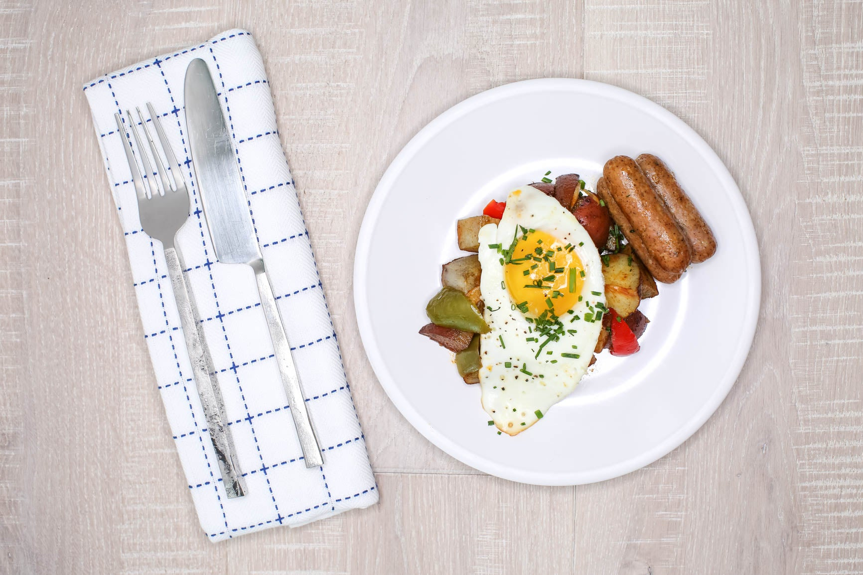 Breakfast Chicken Sausage with Potato Hash + Fried Egg