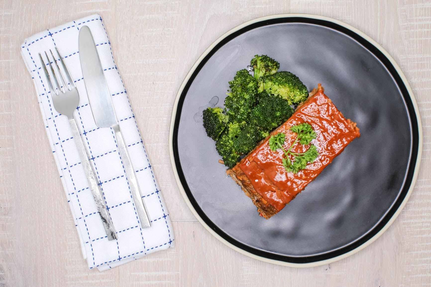 Beef & Vegetable Meatloaf w/ Roasted Broccoli