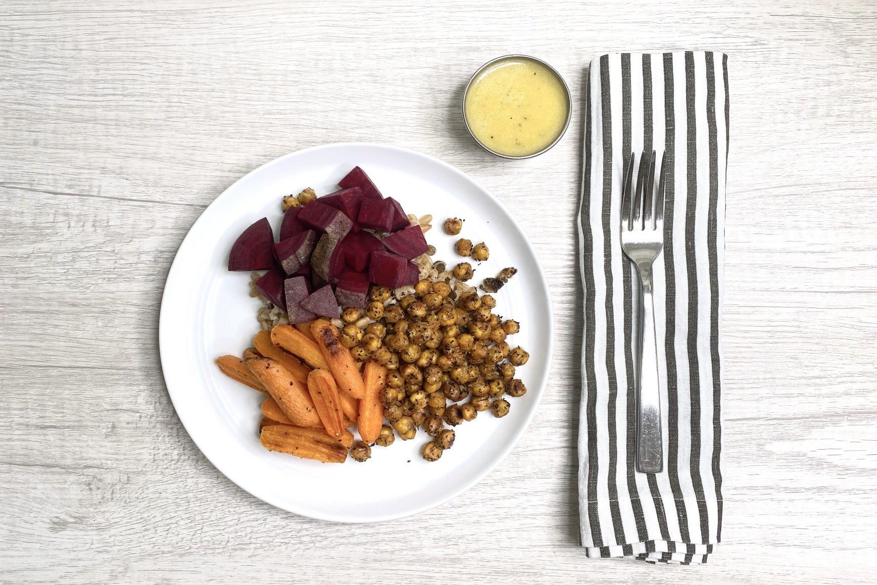 Chai-Spiced Roasted Chickpeas w/ Farro & Baby Carrots (Vegan)