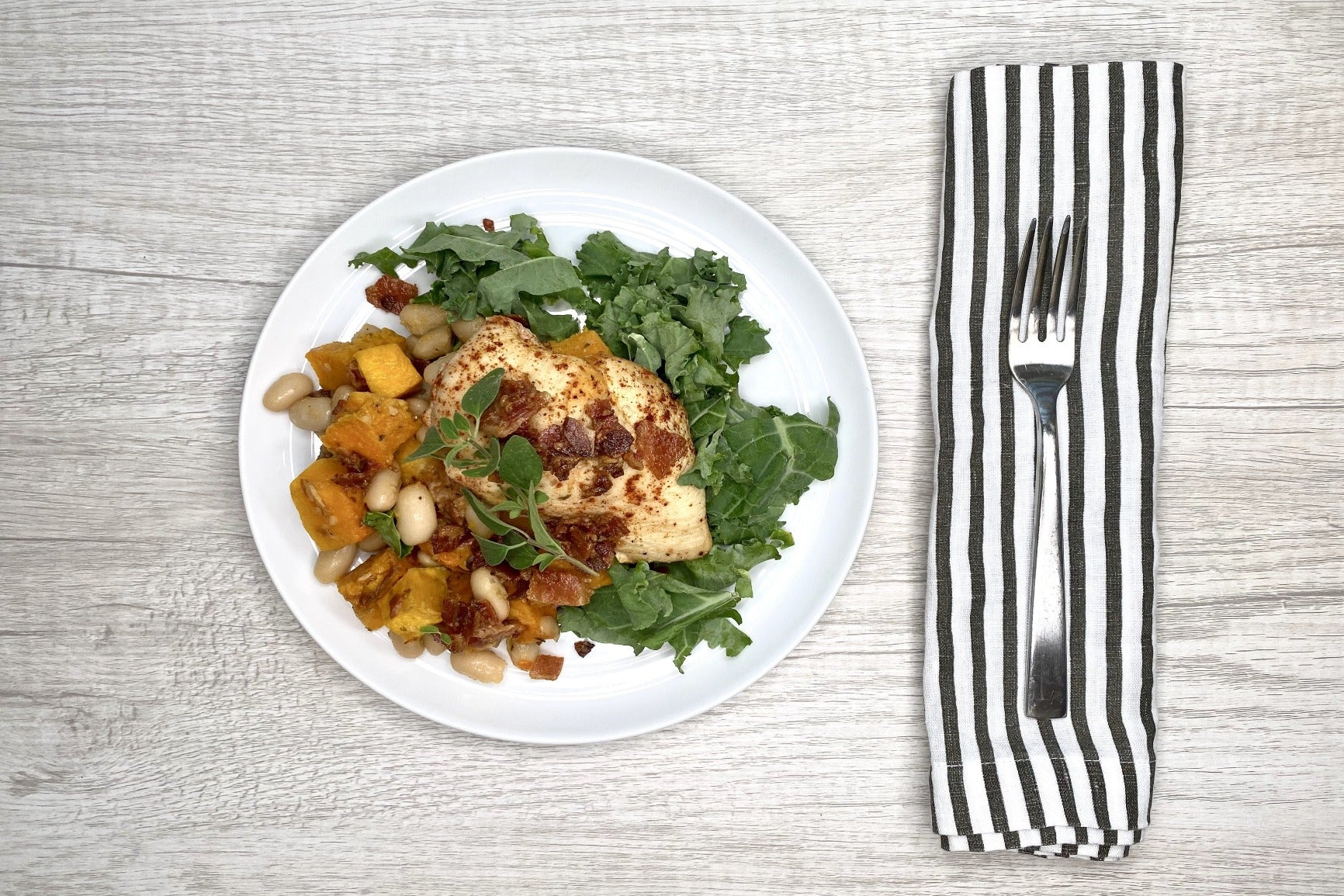 Roasted Butternut Squash & Bacon w/ Kale & Herbed Chicken