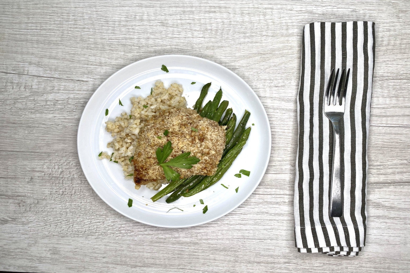 Pecan Crusted Tilapia w/ Coconut Rice & Green Beans