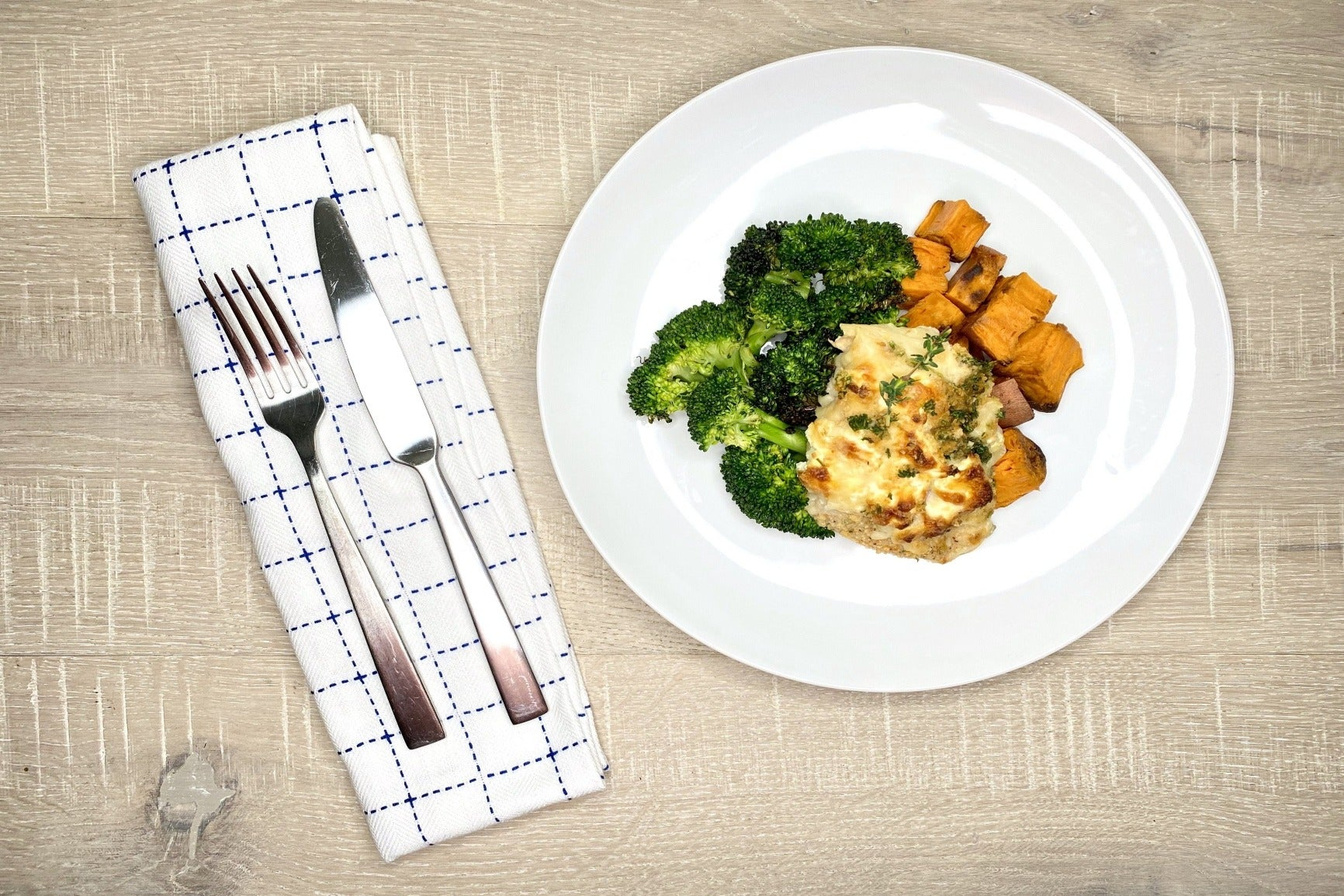 Chicken Cordon Bleu w/ Broccoli + Sweet Potatoes (GF)