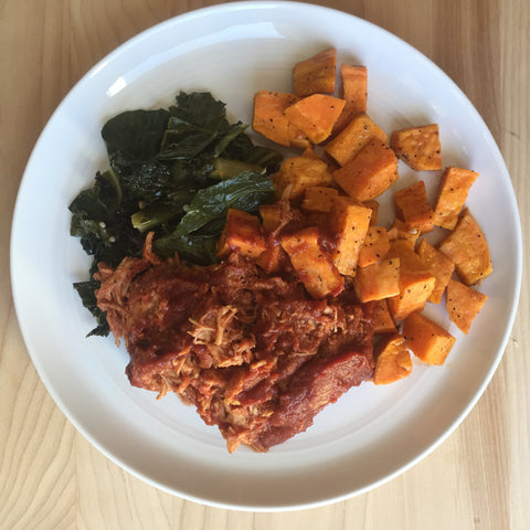 Pulled BBQ Chicken w/ Roasted Sweet Potatoes & Sautéed Greens
