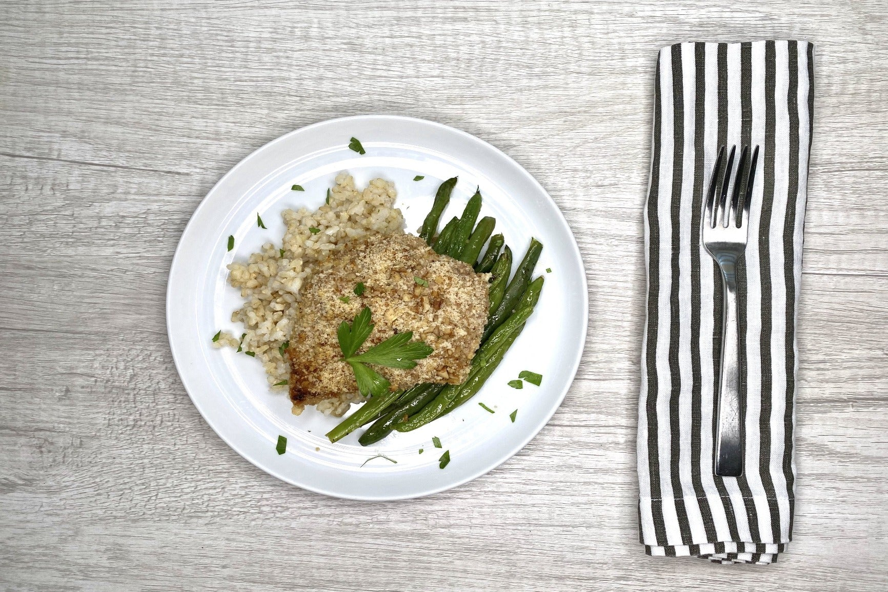 Pecan Crusted Chicken w/ Coconut Rice & Green Beans