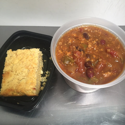 Turkey Pumpkin Chili w/ Maple Cornbread