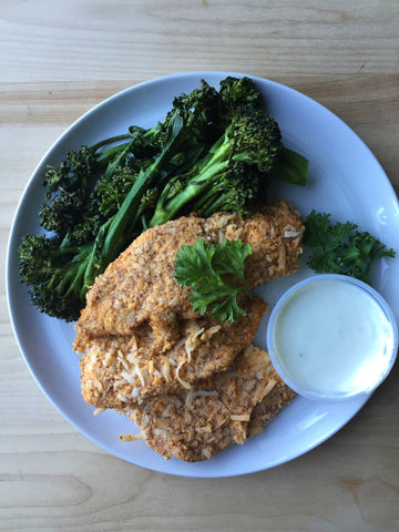 Coconut Almond Crusted Chicken Strips + Broccolini + Yogurt Dipping Sauce