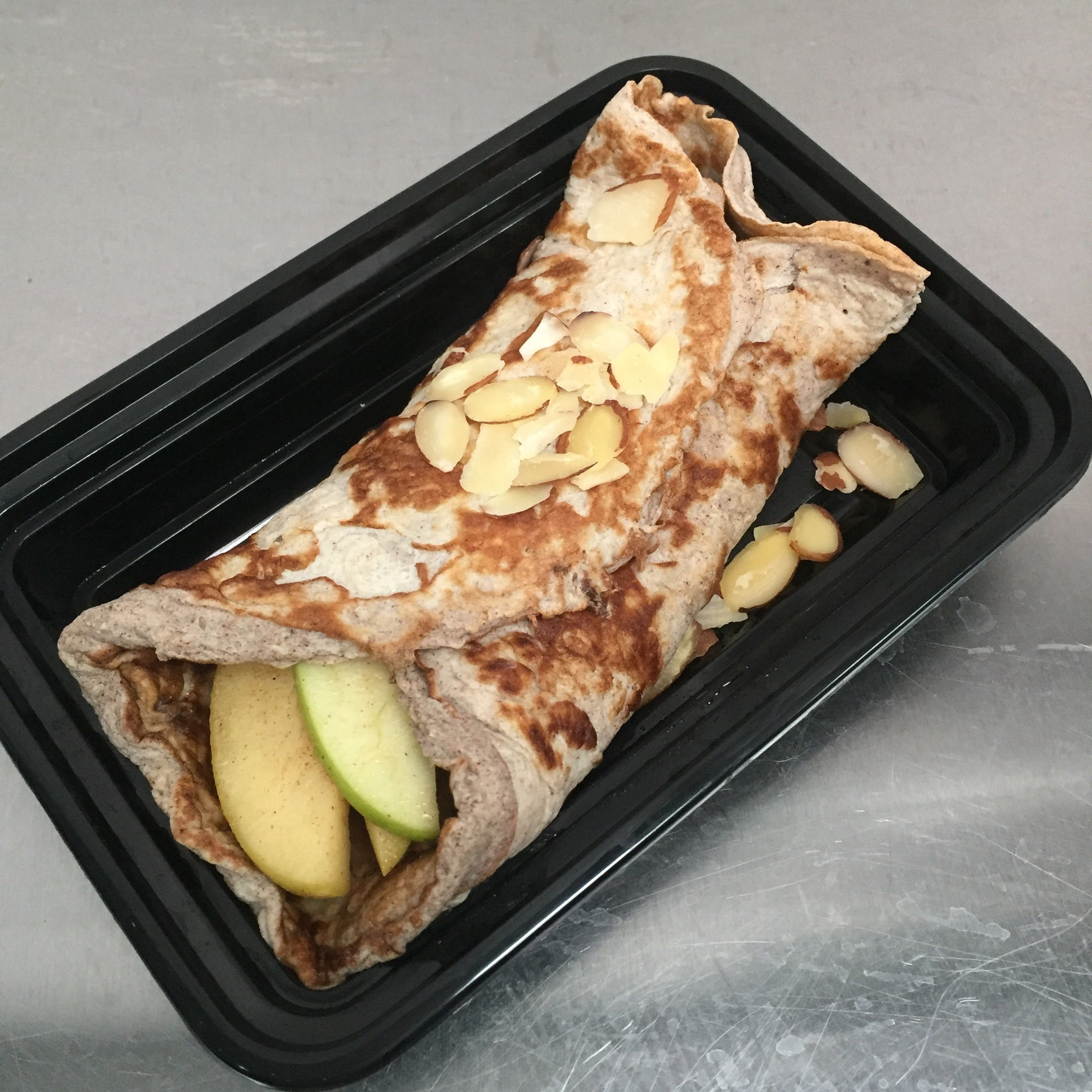 Buckwheat Protein Crepe w/ Almond Butter & Sauteed Apples