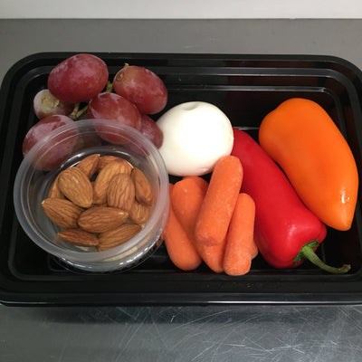 Snack Box - Veggies, Hard-boiled Egg, Grapes, Raw Almonds & Hummus