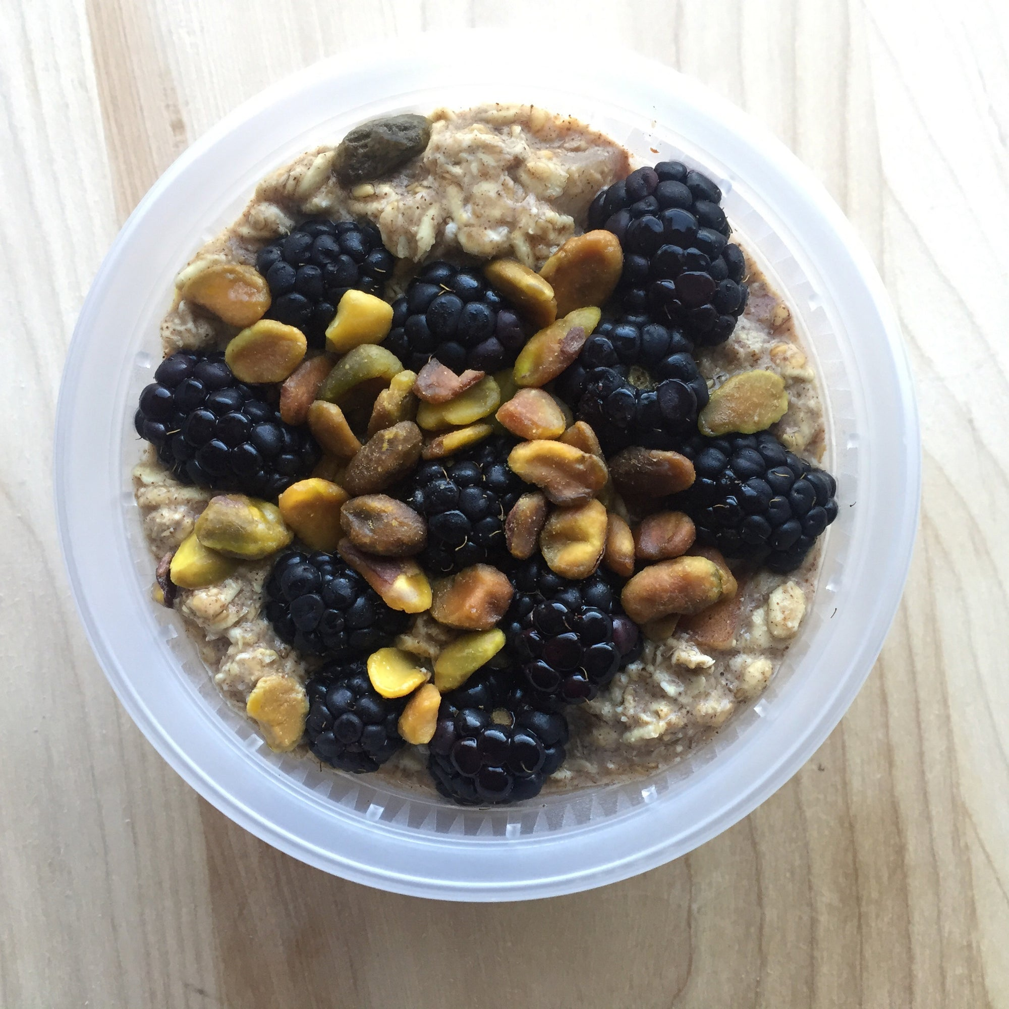Pear Blackberry Overnight Oats w/ Pistachios