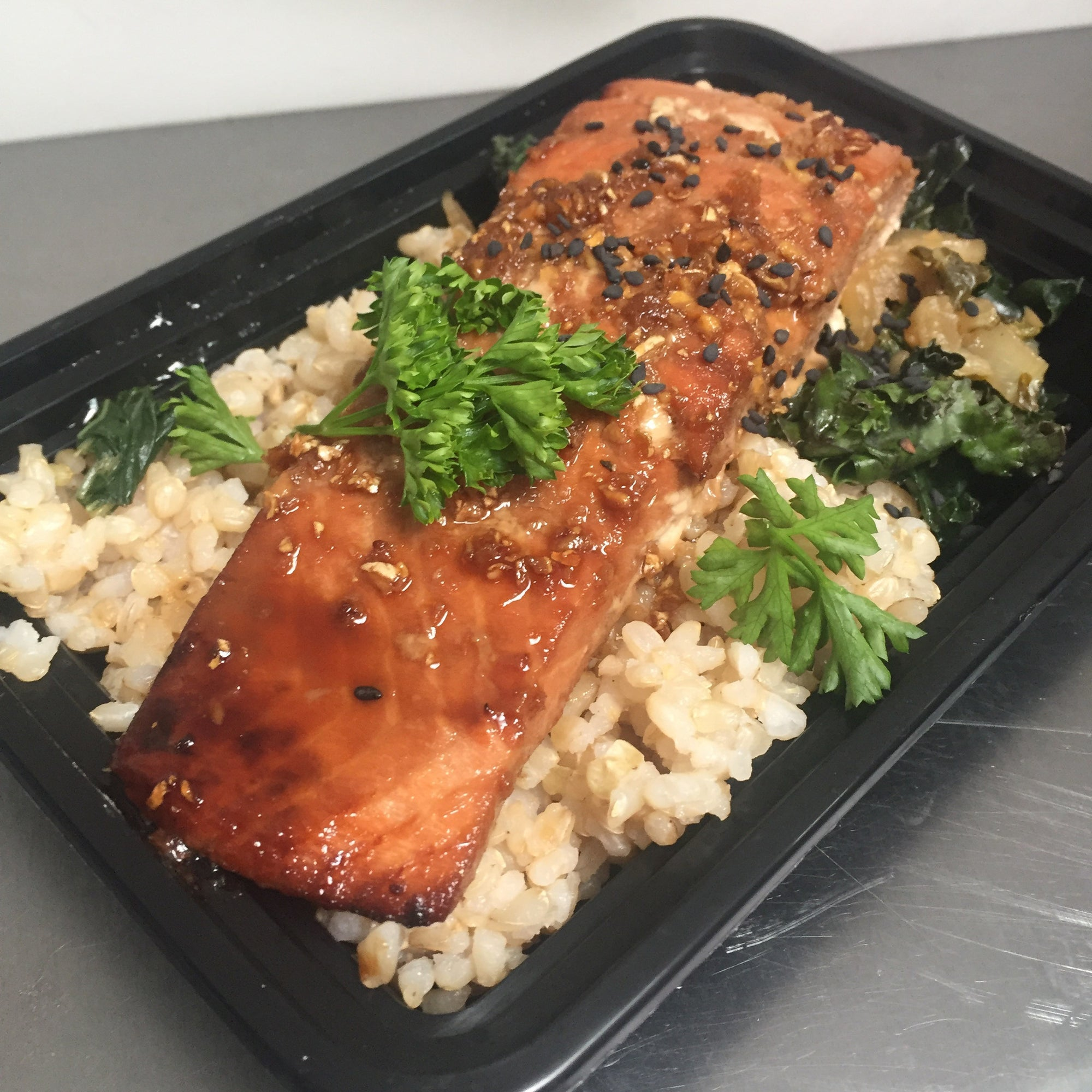 Teriyaki Glazed Salmon w/ Brown Rice & Greens