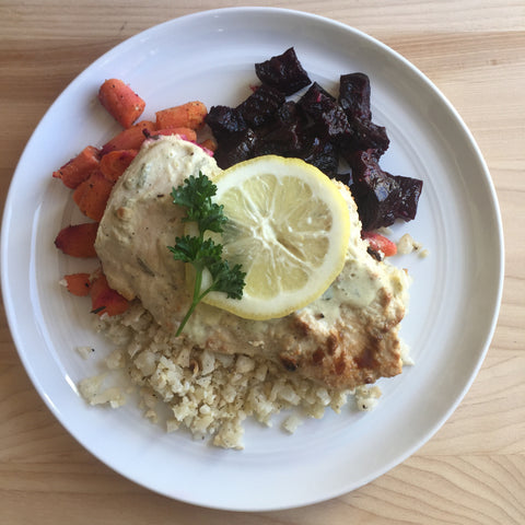 Lemon Garlic Chicken w/ Roasted Beets + Carrots