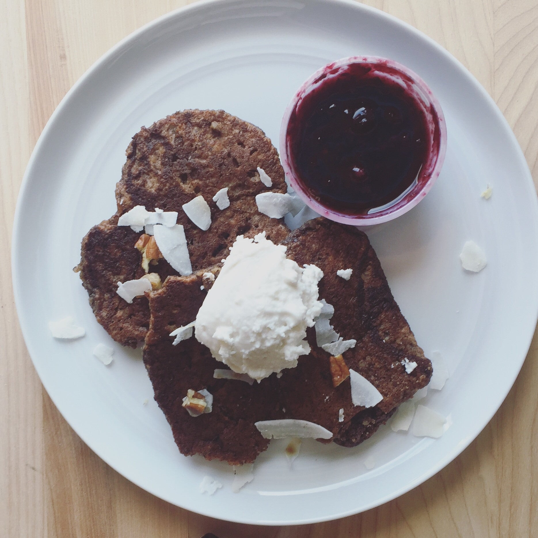 Paleo Pecan Pancakes w/ Mixed Berry Compote + Coconut Cream