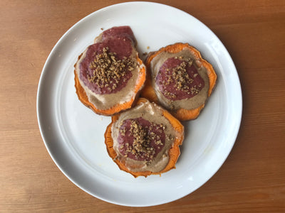 Sweet Potato Toast w/ Collagen Chia Jam & Almond Butter