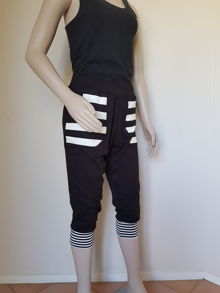 3/4  All Black Stripe Pants