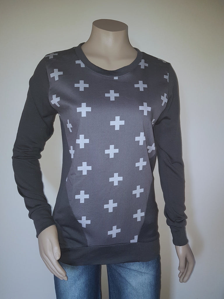 Charcoal Merino  Cross Jumper